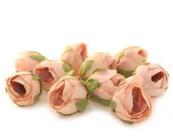 10 Light Salmon Tea Roses - Artificial Flowers, Silk Roses, Small Flowers