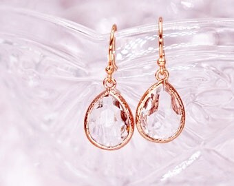 Clear Teardrop Earrings   Rose Gold   Simple Bridesmaid Bridal Wedding Jewerly Gifts   Something blue for her   GlitzAndLove