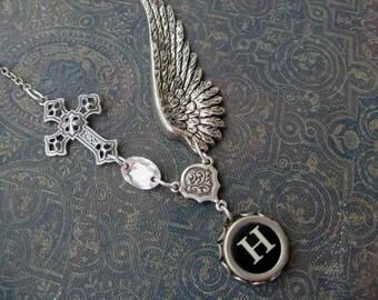 Wing and a Prayer - Typewriter Key Necklace - Initial H - Typewriter Key Jewelry