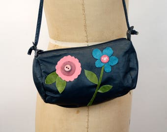 Upcycled purse vintage purse navy blue leather bag appliqued leather suede flowers