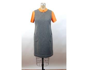 1960s jumper wool dress gray dress Original Design by Mr. Stanley preppy academic dress Size M