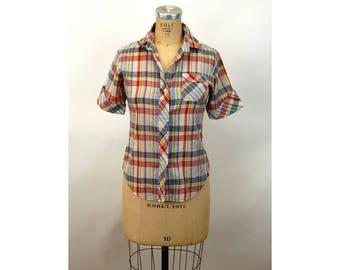 1970s western shirt plaid short sleeved western shirt Size M