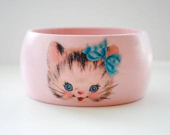 Wooden Cuff Vintage Cat Bracelet - Wooden Bangle Bracelet - Crazy Cat Lady