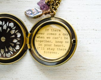 Women's Locket - Friendship Jewelry - Winnie the Pooh Quote - If there ever comes a day when we can't be together, keep me in your heart