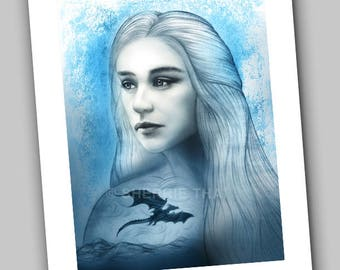 Game of Thrones Daenerys Targaryen Stormborn Portrait Dragon Design, Art Print, Sale