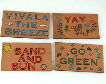Refrigerator Magnets Leather Magnets Set of 4 Nature Happy Outdoor Inspired Magnets Hand Tooled Leather Hand Stamped Leather Hand Painted