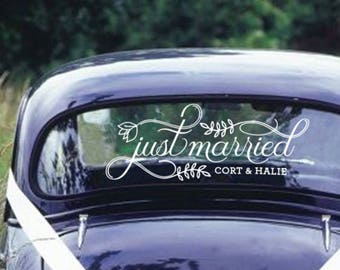 Just Married Car Sign- Custom Vinyl Decal