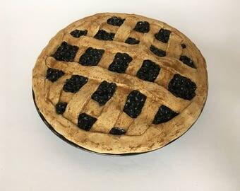 Prim Fake Pie in Crowberry - Primitive Kitchen Decor - Farmhouse Fake Food
