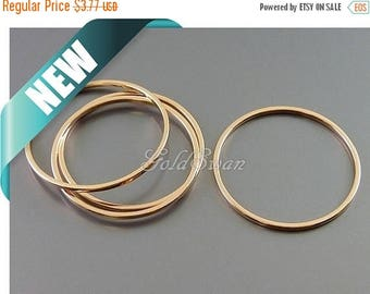 10% SALE 4 pcs 25mm shiny rose gold plain round 30mm open circles, rose gold hoops, infinity pendant 997-BRG-25