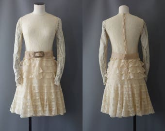 Chantilly dress | Full ivory lace ruffle dress | 1920's by cubevintage | extrasmall