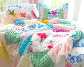 SPECIAL ORDER FOR Mrs. Lyon Large Throw Sz Vintage Chenille Patchwork Quilt And Sham Set