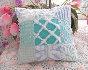 BEACH COTTAGE HOME Decor Vintage Chenille Patchwork Pillow Aqua Blue Green
