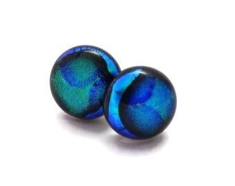 Small Dichroic Stud Earrings, Fused Glass Earrings, Blue Earrings, Post Earrings, Dichroic Fused Glass Earrings,152