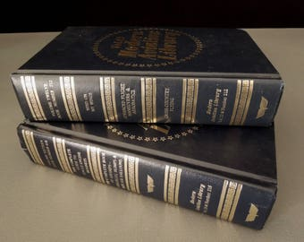 Modern Aviation Library - Navy Blue Gold 1980 Books for Decor - Gift Pilot Flying Airplanes Aviator - Volumes 12 and 16