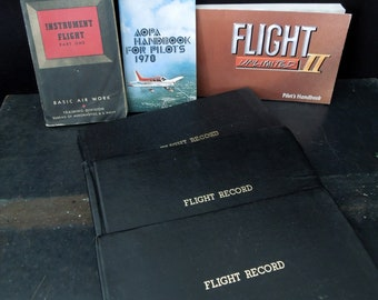 Airplane Pilots Book Set - Vintage Book Flying Small Planes - Flight Logs Pilots Guide Reference Books - Gift Aeronautics