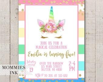 Girls Birthday Invitation, 5th Birthday Invite, Unicorn Birthday Invitation, Rainbow Stripe Invitation, Magical Unicorn Invitation
