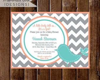 20% OFF SALE Preppy Chevron Bird Baby Shower Invitation - Gray Coral and Turquoise - PRINTABLE Invitation Design