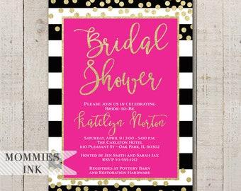 Hot Pink Invitation, Black and White Stripe Bridal Shower Invitation, Confetti Invite, Black and Gold Invitation, Gold Glitter Invitation