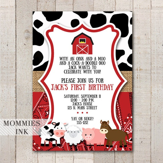 Farm Invitation Farm Animals Birthday Party Invite Farm Invite