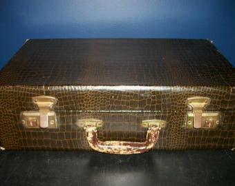 Vintage Hardshell Salesman's Case Faux Alligator Skin and Gold Suitcase
