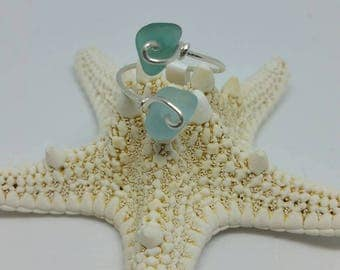 Adjustable teal and aqua sea glass ring - sterling silver - French sea glass