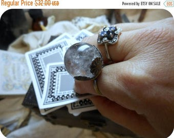 SALE THE ORACLE. Witch's Crystal Ball Ring. Genuine Polished Quartz Crystal Sphere. Soothsayer's ring. Gypsy Boho.