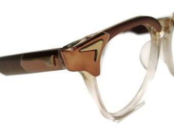 Vintage 50s Horn Rim Eyeglasses Frame Marine