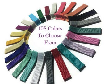 25 Solid Lined Alligator Clips, 45mm Clips, No Slip Hair Clips, Solid Hair Clips, Ribbon Hair Clips, Lined Hair Clips, Ribbon Covered Clips