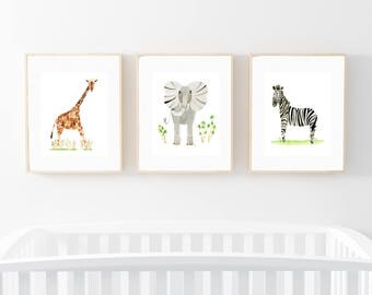 Set of Three Prints, Giraffe, Elephant, Zebra, Watercolor Art Prints, Nursery Wall Decor, Safari Theme, Baby Shower Gift, Kids Room, Prints
