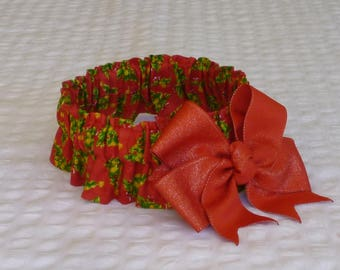 """Decorated Christmas Trees Dog Scrunchie Collar - big red glitter bow - Size L: 16"""" to 18"""" neck - LaSt ONe WiTh THiS BoW"""