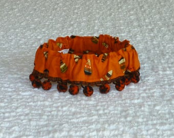 """Halloween Dog Collar, Crazy Candy Corn Dog Scrunchie Collar with orange and black pom poms - Size S: 12"""" to 14"""" neck"""