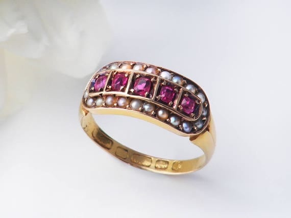 Antique Engagement Ring | Rubies & Seed Pearls 15ct Gold Victorian Ring | 1883 English Hallmarks - Small - US Size 5 3/8 | UK Size K 1/2
