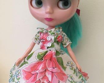 White and Pink Floral Vintage Hankie Dress For Blythe