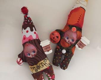 Coffee break gnome kewpie doll ornaments pumpkin spice latte