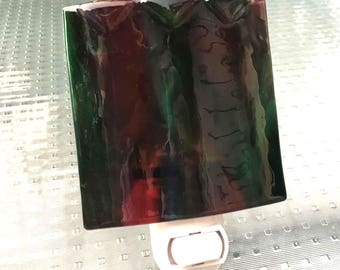 Night Light, Red and Green Cathedral Glass, Home Decor