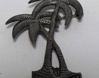 Vintage Palm Coconut Tree Brooch Sterling Silver FREE SHIPPING j114
