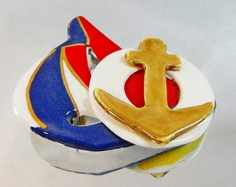 SALE Vintage Red White Blue Porcelain Sailboat Brooch.  Red, White, Navy Blue Gold Anchor Porcelain Sailboat Pin.