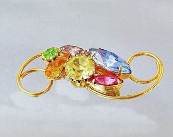 SALE Vintage Pastel Rhinestone Brooch. Pink Gold Yellow Cerulean Blue Peridot Green Amethyst Purple Rhinestone Pin.