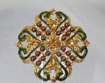 SALE Vintage Ornate Rhinestone Brooch. Enamel Rhinestones Pearls Cluster Pin. Victorian Revival Brooch.