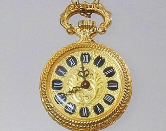 SALE Vintage 17 Jewel Ladies Watch Pendant.  Clama Swiss Movement Ladies Watch Necklace.  Vintage Gold Watch Pendant.