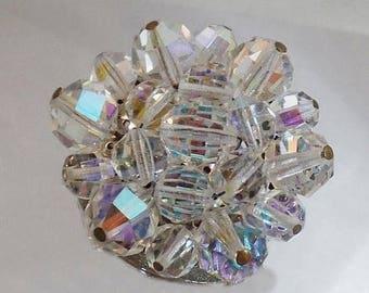 BIG SALE Vintage Austrian Crystal 1950s Brooch.  Austrian Crystals Pin. Aurora Borealis.