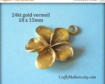 7% off SHOP SALE 2 Bali 24kt Gold Vermeil Plumeria Flower Charm, artisan-made jewelry supplies