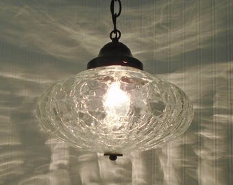 Kennibec. LARGE Mid-Century Crackle Glass PENDANT Light-Chandelier Ceiling Lighting Farmhouse Kitchen Glass Island LampGoods