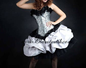 Size Large Black and Silver lace burlesque corset prom dress with tulle and dupioni shantung skirting with pickups - READY TO SHIP