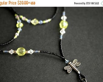 SUMMER SALE Badge Lanyard or Eyeglass Chain. Dragonfly Lanyard. Blue Lanyard. Badge Holder. Green Lanyard. Eyeglass Holder. Handmade Lanyard