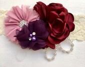 Burgundy headband, toddler headband, dusty pink headband, flower girl headband, baby headband, flower headband, ivory headband, vintage head
