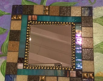 MOSAIC MIRROR - Accent Mirror, Gray, Brown, Turquoise, Gold, Blue