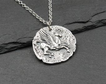 Pegasus Necklace - 925 Sterling Silver Jewelry, greek mythology jewelry, pegasus pendant