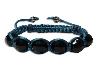 Chessboard Crystal Bracelet - 6 to 8 Inch wrist size - black and teal - large jet black faceted ball crystals - satin macrame cord bracelet
