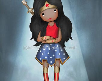African american Wonder Woman Poster Artwork, Kids Room Decoration, baby girl wonder woman,Superhero Girl, Toddler Baby Shower Gift, Custom